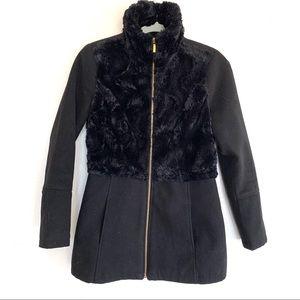 Thalia Sodi Black Faux Fur Winter Coat Jacket